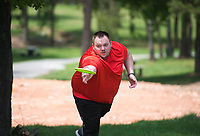 NWA Democrat-Gazette/CHARLIE KAIJO Matt Luethje of Fayetteville plays disk golf, Monday, May 14, 2018 at McKissic Springs Station park in Centerton. <br />