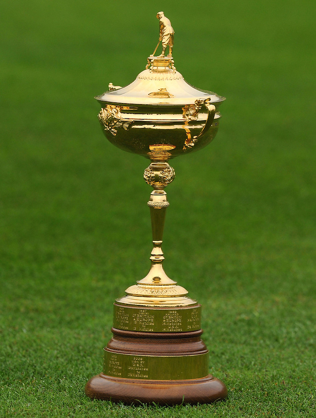 The Ryder Cup Trophy on the 18th Fairway<br /> <br /> Ryder Cup 2010 - Practice day 1 - 28th September 2010 - Celtic Manor Resort Newport, Wales.  Please Credit - Ian Cook - Sportingwales