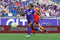 Orlando, FL - Sunday June 26, 2016: Jasmyne Spencer  during a regular season National Women's Soccer League (NWSL) match between the Orlando Pride and the Portland Thorns FC at Camping World Stadium.