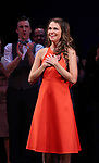 Gavin Creel and Sutton Foster diuring the curtain Call bows for the Actors Fund's 15th Anniversary Reunion Concert of 'Thoroughly Modern Millie' on February 18, 2018 at the Minskoff Theatre in New York City.