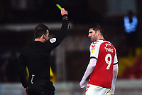 Referee Anthony Backhouse shows a yellow card to Fleetwood Town's Ched Evans<br /> <br /> Photographer Richard Martin-Roberts/CameraSport<br /> <br /> The EFL Sky Bet League One - Saturday 15th December 2018 - Fleetwood Town v Burton Albion - Highbury Stadium - Fleetwood<br /> <br /> World Copyright © 2018 CameraSport. All rights reserved. 43 Linden Ave. Countesthorpe. Leicester. England. LE8 5PG - Tel: +44 (0) 116 277 4147 - admin@camerasport.com - www.camerasport.com