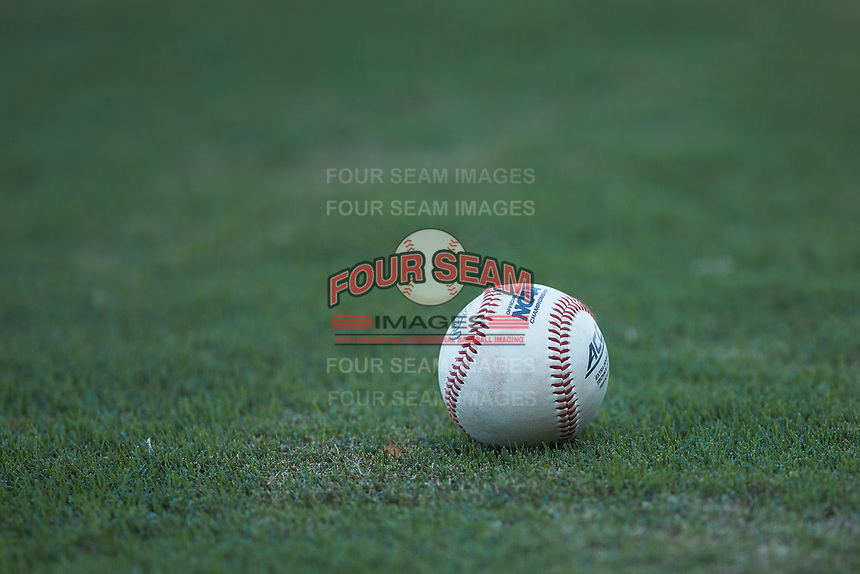 A Rawlings ACC baseball sits on the grass behind home plate during the exhibition game between the Coastal Carolina Chanticleers and the Duke Blue Devils at Segra Stadium on November 2, 2019 in Fayetteville, North Carolina. (Brian Westerholt/Four Seam Images)