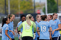Rochester, NY - Saturday May 21, 2016: Sky Blue FC huddles up before the start of the match. The Western New York Flash defeated Sky Blue FC 5-2 during a regular season National Women's Soccer League (NWSL) match at Sahlen's Stadium.