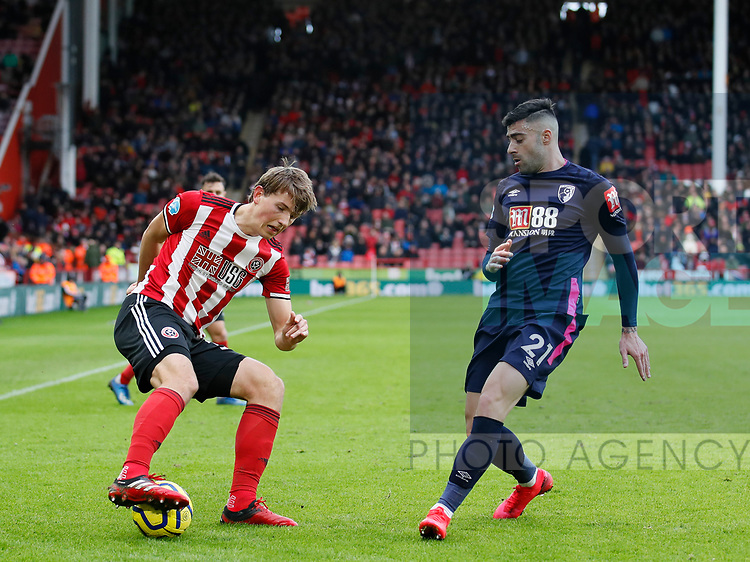 Sander Berge of Sheffield Utd turns Diego Rico of Bournemouth during the Premier League match at Bramall Lane, Sheffield. Picture date: 9th February 2020. Picture credit should read: Simon Bellis/Sportimage