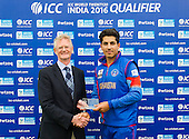 ICC World T20 Qualifier - GROUP B MATCH - NETHERLANDS V AFGHANISTAN at Grange CC, Edinburgh - Man of the Match Sharafudin Ashraf is presented with his award my Tony Brian, Chairman of Cricket Scotland — credit @ICC/Donald MacLeod - 09.07.15 - 07702 319 738 -clanmacleod@btinternet.com - www.donald-macleod.com