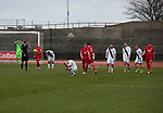 Edinburgh City players show their disappointment at the final whistle after a last minute goal by Montrose's ensures the points are shared in a 1-1 draw. City were looking for points in their bid to avoid relegation in their first season in League 2 after promotion from the Lowland League in 2015-16. The match ended 1-1, Josh Walker scoring for City, with Montrose equalising in the last minute, watched by a crowd of 346.