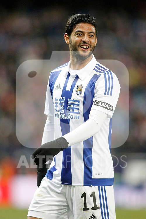Real Sociedad's Carlos Vela during La Liga match. March 1,2016. (ALTERPHOTOS/Acero)