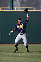 Jonah Davis (14) of the California Bears waits under a fly ball during a game against the UCLA Bruins at Jackie Robinson Stadium on March 25, 2017 in Los Angeles, California. UCLA defeated California, 9-4. (Larry Goren/Four Seam Images)