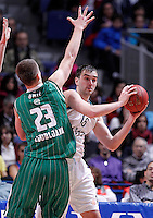 Real Madrid's Mirza Begic (r) and Union Olimpija Ljubljana's Alen Omic during Euroleague 2012/2013 match.December 13,2012. (ALTERPHOTOS/Acero) /NortePhoto