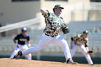 Slippery Rock pitcher Geoff Sanner (35) during a game against Kentucky Wesleyan College at Jack Russell Stadium on March 14, 2014 in Clearwater, Florida.  Slippery Rock defeated Kentucky Wesleyan 18-13.  (Mike Janes/Four Seam Images)