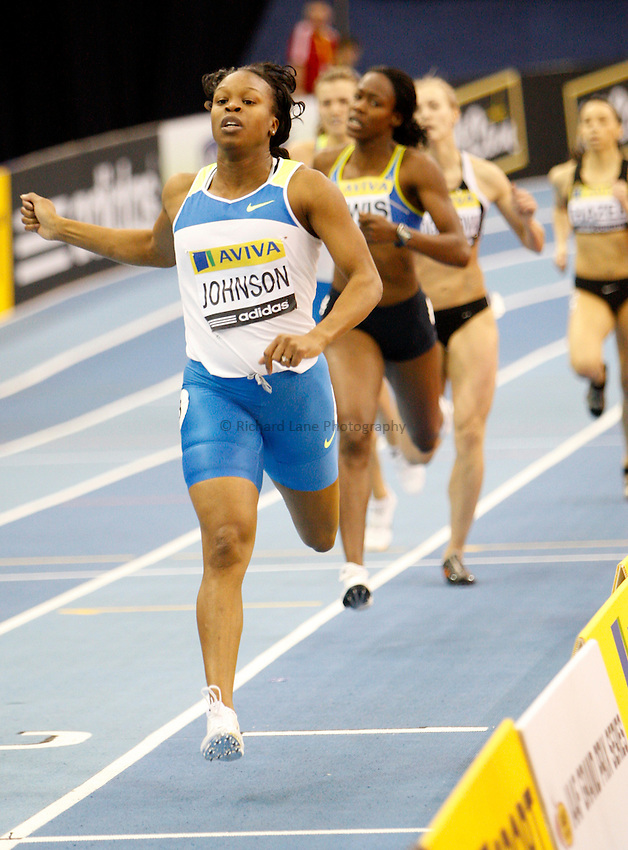 Photo: Richard Lane/Richard Lane Photography..Aviva Grand Prix. 21/02/2009. USA's Gi-Gi Johnson during the Three Event Challenge women's 400m.
