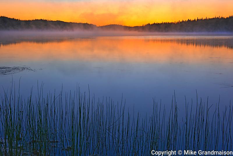 Fog over Lac Sauvage at dawn<br />Chibougameau<br />Quebec<br />Canada