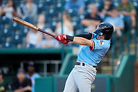 Kole Enright (12) of the Hickory Crawdads follows through on his swing against the Ocelotes de Greensboro at First National Bank Field on June 11, 2019 in Greensboro, North Carolina. The Crawdads defeated the Ocelotes 2-1. (Brian Westerholt/Four Seam Images)
