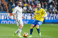 Daniel Carvajal of Real Madrid competes for the ball with Jese Rodriguez of UD Las Palmasduring the match of Spanish La Liga between Real Madrid and UD Las Palmas at  Santiago Bernabeu Stadium in Madrid, Spain. March 01, 2017. (ALTERPHOTOS / Rodrigo Jimenez) /NORTEPHOTOmex