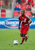 August 21 2010 Toronto FC defender Nana Attakora #3 in action during a game between the New York Red Bulls and Toronto FC at BMO Field in Toronto..The New York Red Bulls won 4-1