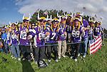 USA fans on the 12th green <br /> <br /> Photographer Ian Cook/CameraSport<br /> <br /> International Golf - 2014 Ryder Cup - Day 2 - Saturday 27th September 2014 - PGA Centenary Course - Gleneagles Hotel - Auchterarder, Scotland<br /> <br /> &copy; CameraSport - 43 Linden Ave. Countesthorpe. Leicester. England. LE8 5PG - Tel: +44 (0) 116 277 4147 - admin@camerasport.com - www.camerasport.com