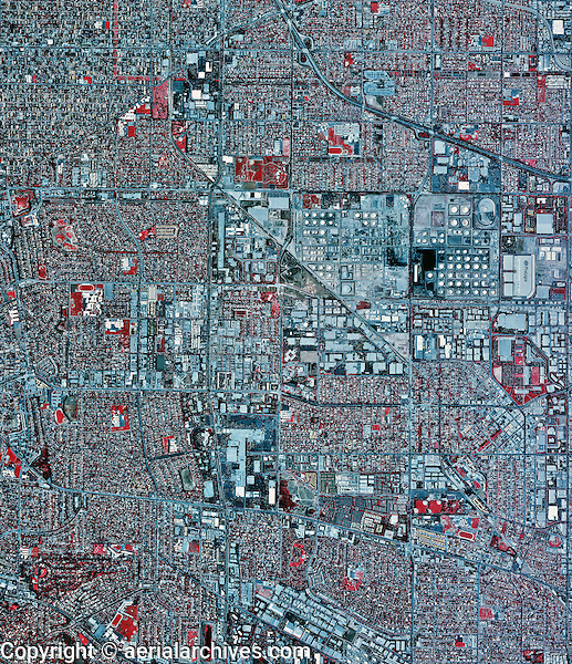 historical infrared aerial photograph of Torrance, California, 2002