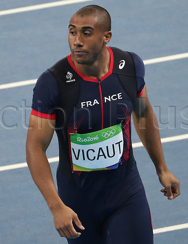 14.08.2016. Rio de Janeiro, Brazil. Jimmy Vicaut of France reacts after his Men's 100m Semifinals of the Athletic, Track and Field events during the Rio 2016 Olympic Games at Olympic Stadium in Rio de Janeiro, Brazil, 14 August 2016.