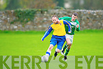 Classic FC's Kenneth Leahy and Castleisland's Mike Hanafin.