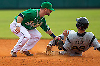 Notre Dame Fighting Irish second baseman Frank DeSico #35 attempts to tag Cameron Perkins #22 during a game against the Purdue Boilermakers at the Big Ten/Big East Challenge at Al Lang Stadium on February 19, 2012 in St. Petersburg, Florida.  (Mike Janes/Four Seam Images)