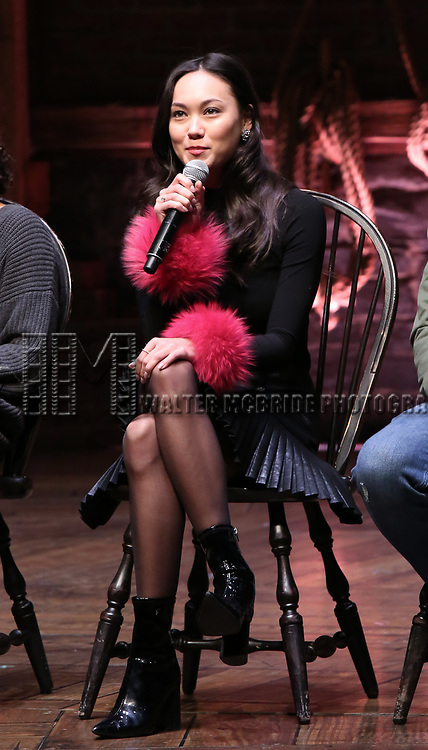 """Sabrina Imamura during The Rockefeller Foundation and The Gilder Lehrman Institute of American History sponsored High School student #eduHam matinee performance of """"Hamilton"""" Q & A at the Richard Rodgers Theatre on December 5,, 2018 in New York City."""