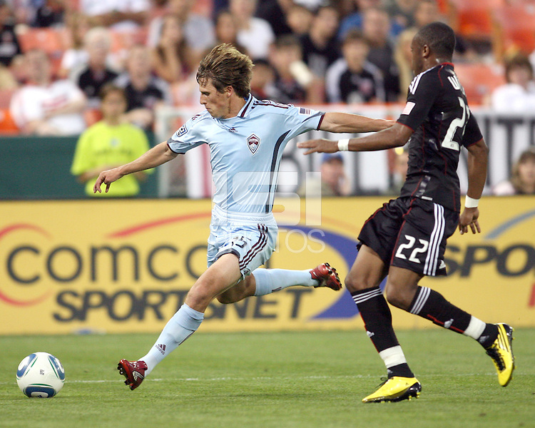 Rodney Wallace #22 of D.C. United watches Wells Thompson #15 of the Colorado Rapids line up a shot during an MLS match on May 15 2010, at RFK Stadium in Washington D.C. Colorado won 1-0.