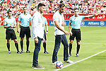 The Olympic canoeists Saúl Craviotto and Cristian Toro, gold in Rio in K-2, made the honor kick before Sporting de Gijon v FC Barcelona La Liga match. September 24,2016. (ALTERPHOTOS/Acero)