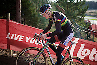World Champion Mathieu Van der Poel (NLD/BKCP-Corendon) showing his rainbow stripes on a black kit in training<br /> <br /> UCI Cyclocross World Cup Heusden-Zolder 2015
