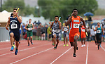 Kyu Kelly runs the anchor leg as Bishop Gorman wins the 4A 4x100 relay at the NIAA Track & Field Championships at Carson High in Carson City, Nev., on Friday, May 18, 2018. Cathleen Allison/Las Vegas Review-Journal