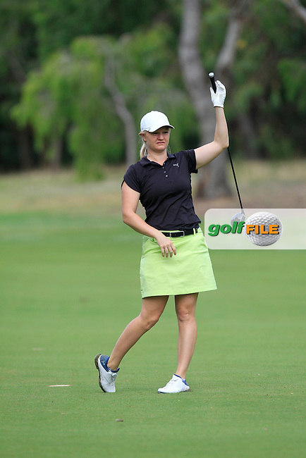 Hannah Thompson playing with Joel Stalter (FRA) on the 7th fairway during the Pro-Am for the ISPS Handa World Super 6 Perth on Wednesday 15th February 2017.<br /> Picture:  Thos Caffrey / Golffile<br /> <br /> All photo usage must carry mandatory copyright credit     (&copy; Golffile | Thos Caffrey)