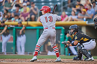 Tyler O'Neill (13) of the Memphis Redbirds bats against the Salt Lake Bees at Smith's Ballpark on July 24, 2018 in Salt Lake City, Utah. Memphis defeated Salt Lake 14-4. (Stephen Smith/Four Seam Images)