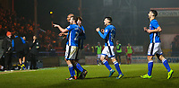 GOAL - Rochdale's Calvin Andrew celebrates scoring his side's first goal with team-mate during the Sky Bet League 1 match between Rochdale and Walsall at Spotland Stadium, Rochdale, England on 23 December 2017. Photo by Juel Miah / PRiME Media Images.