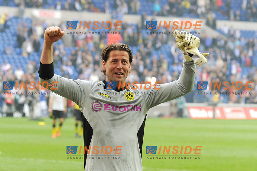 14.04.2012, Veltins Arena, Gelsenkirchen, GER, Schalke 04 vs Borussia Dortmund, 31. Spieltag, im Bild Torhueter Roman Weidenfeller ( Borussia Dortmund/ Portrait ) freut sich riesig ueber den Auswaertssieg sowie die fast sichere deutsche Meisterschaft // during the German Bundesliga Match, 31th Round between Schalke 04 and Borussia Dortmund at the Veltins Arena, Gelsenkirchen, Germany on 2012/04/14. EXPA Pictures © 2012, PhotoCredit: EXPA/ Eibner/ Alexander Neis.. .Italy Only