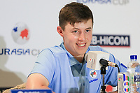 Matthew Fitzpatrick (Europe) during an interview after the Saturday Foursomes of the Eurasia Cup at Glenmarie Golf and Country Club on the 13th January 2018.<br /> Picture:  Thos Caffrey / www.golffile.ie