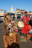 Musicians in the Jemaa el-Fnaa square in  Marrakech, Morocco