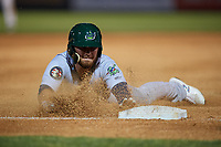 Vermont Lake Monsters right fielder Payton Squier (1) slides into third base after hitting a triple during a game against the Tri-City ValleyCats on June 16, 2018 at Joseph L. Bruno Stadium in Troy, New York.  Vermont defeated Tri-City 6-2.  (Mike Janes/Four Seam Images)
