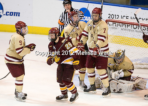 Barry Almeida (BC - 9), Wade Bergman (Duluth - 28), Patch Alber (BC - 3), Isaac MacLeod (BC - 7), Parker Milner (BC - 35) - The Boston College Eagles defeated the University of Minnesota Duluth Bulldogs 4-0 to win the NCAA Northeast Regional on Sunday, March 25, 2012, at the DCU Center in Worcester, Massachusetts.