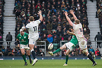 Twickenham, United Kingdom. Left. Joe Marler and right, George Kruis, attempt to charge down, Jonny SEXTON'S clearence kick,   Natwest 6 Nations : England vs Ireland. at the  RFU Stadium, Twickenham, England, <br />
