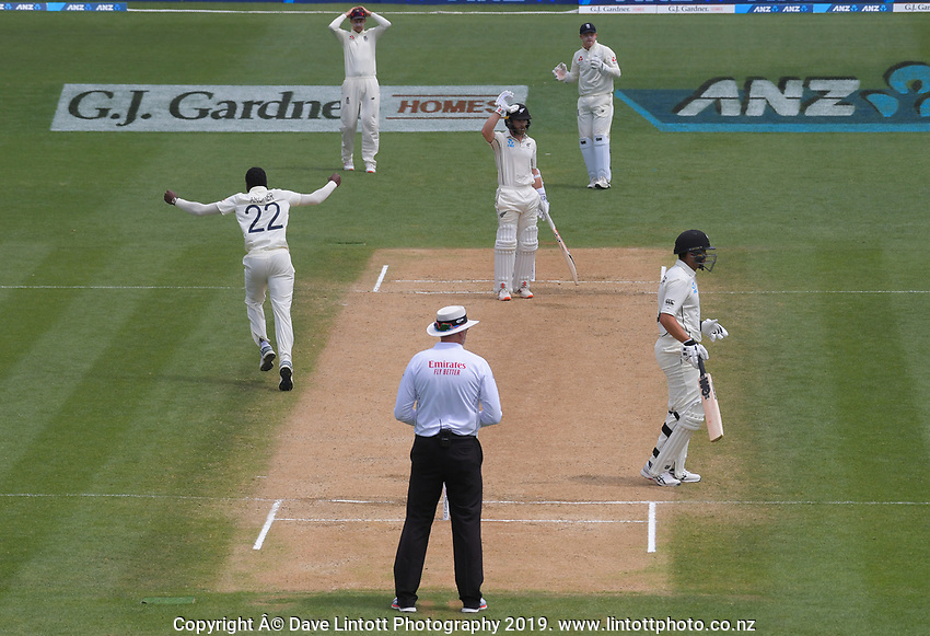 England's Jofra Archer celebrates after believing England's Joe Denley had caught NZ captain Kane Williamson during day five of the international cricket 2nd test match between NZ Black Caps and England at Seddon Park in Hamilton, New Zealand on Tuesday, 3 December 2019. Photo: Dave Lintott / lintottphoto.co.nz