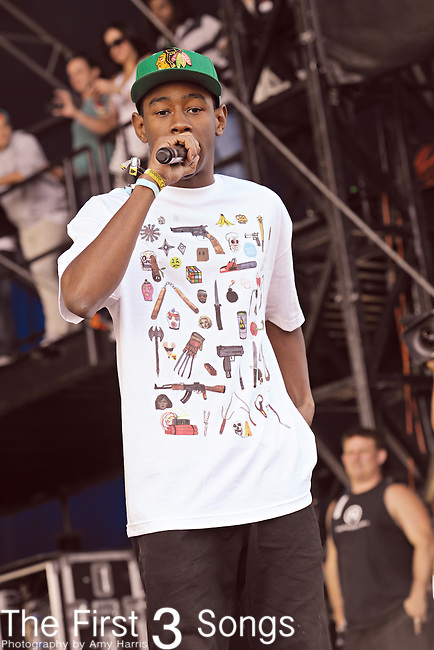 Tyler the Creator, born Tyler Okonma, of Odd Future performs during Day 3 of the Voodoo Experience at City Park in New Orleans, Louisiana on October 30, 2011.