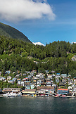 USA, Alaska, Ketchikan, a view of Ketchikan from aboard the ms Oosterdam as it departs and heads through the Clarence Straight for Juneau