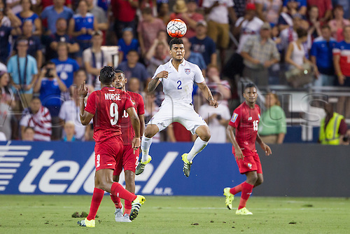 13.07.2015., Kansas City, MS, USA.  Team USA DeAndre Yedlin (2) makes a clearing header during the CONCACAF Gold Cup Group Stage match between Panama and the USA at Sporting Park in Kansas City, Kansas.  The match would end in a 1-1 tie.