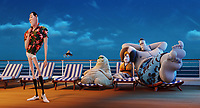 Dracula (Adam Sandler), Griffin the Invisible Man (David Spade), Murray (Keegan-Michael Key), Eunice (Fran Drescher) and Frank (Kevin James) in Hotel Transylvania 3: Summer Vacation (2018) <br /> *Filmstill - Editorial Use Only*<br /> CAP/RFS<br /> Image supplied by Capital Pictures
