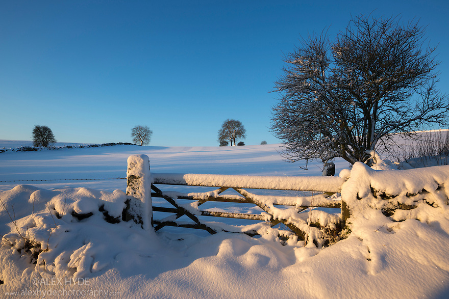 Winter scene with gate near Bonsall, Peak District Natioanl Park, Derbyshire. December.