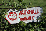 Vauxhall Motors FC 0 Solihull Moors 2, 26/04/2014. Rivacre Park, Conference North. A sign pointing the way to the ground before Vauxhall Motors play Solihull Moors at Rivacre Park in the final Conference North fixture of the season. It was to be the last match for the Ellesmere Port-based home club, named after the giant car factory in the town, who have resigned from the professional pyramid system to return to local amateur football due to spiralling costs and low attendances. Their final match resulted in a 2-0 home defeat, watched by a crowd of only 215. Photo by Colin McPherson.