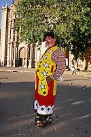 Clown in the Plaza del Carmen in the city of San Luis de Potosi, Mexico