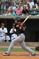 Delmarva Shorebirds infielder Sammie Starr #6 at bat during a game against the Charleston Riverdogs  at Joseph P. Riley Jr. Park on May 6, 2012 in Charleston, South Carolina. Charleston defeated Delmarva by the score of 8-2. (Robert Gurganus/Four Seam Images)