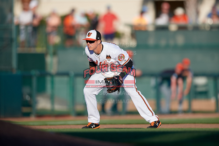 Baltimore Orioles third baseman Ryan Mountcastle (76) during a Grapefruit League Spring Training game against the Detroit Tigers on March 3, 2019 at Ed Smith Stadium in Sarasota, Florida.  Baltimore defeated Detroit 7-5.  (Mike Janes/Four Seam Images)