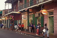 New Orleans, French Quarter, Louisiana, LA, Illuminated store fronts along the street in the French Quarter in New Orleans.