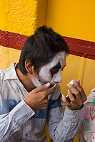 Mexico, Mexico City. Day of the Dead, Dia de los Muertos. Boy with painted face.